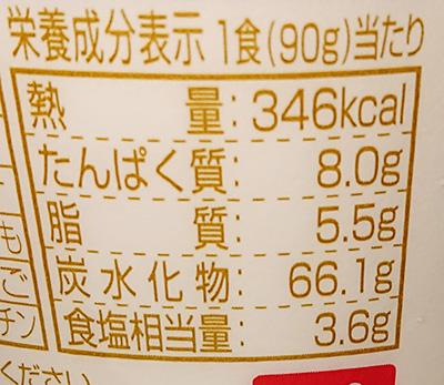 カップヌードルぶっこみ飯の栄養成分表示