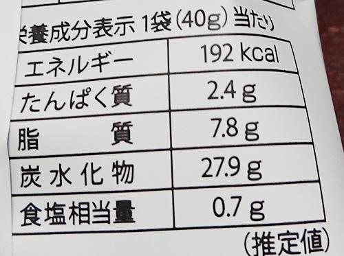 「ラッキーベーコンマヨ」の栄養成分表示