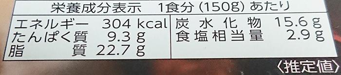 「噂の名店湘南ドライカレー」の栄養成分表示