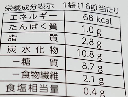 「おくらスナック 博多めんたい味」の栄養成分表示