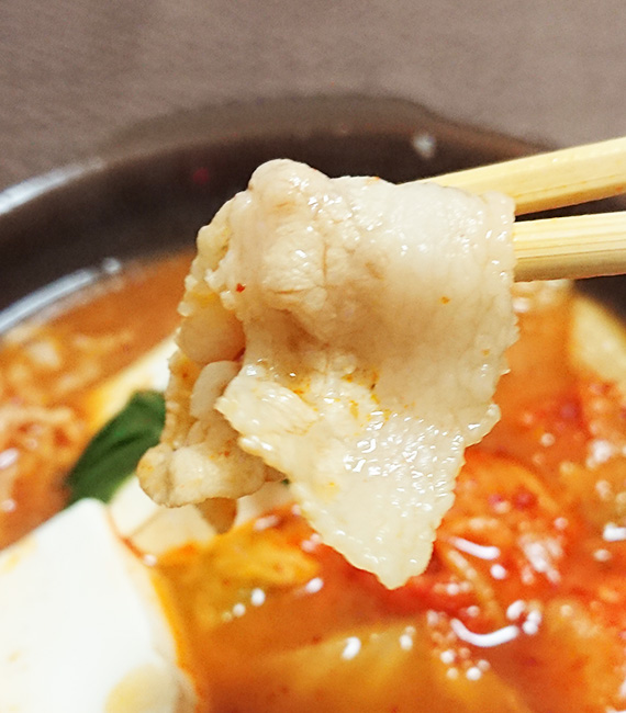 「1/2日分の野菜!コク旨キムチ鍋」に入っている豚肉