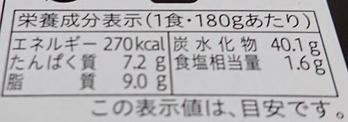 『富山ブラックカレー』の栄養成分表示