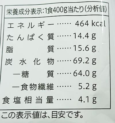 『五目あんかけ焼きそば』(冷凍)の栄養成分表示