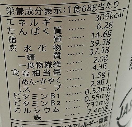 「ほうれん草たくさん ミルク仕立て塩ラーメン」の栄養成分表示